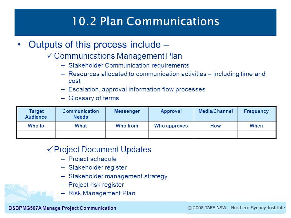 project initiation document communication plan