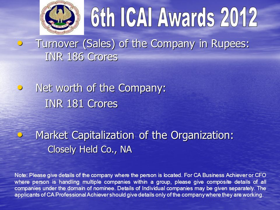 Turnover (Sales) of the Company in Rupees: INR 186 Crores