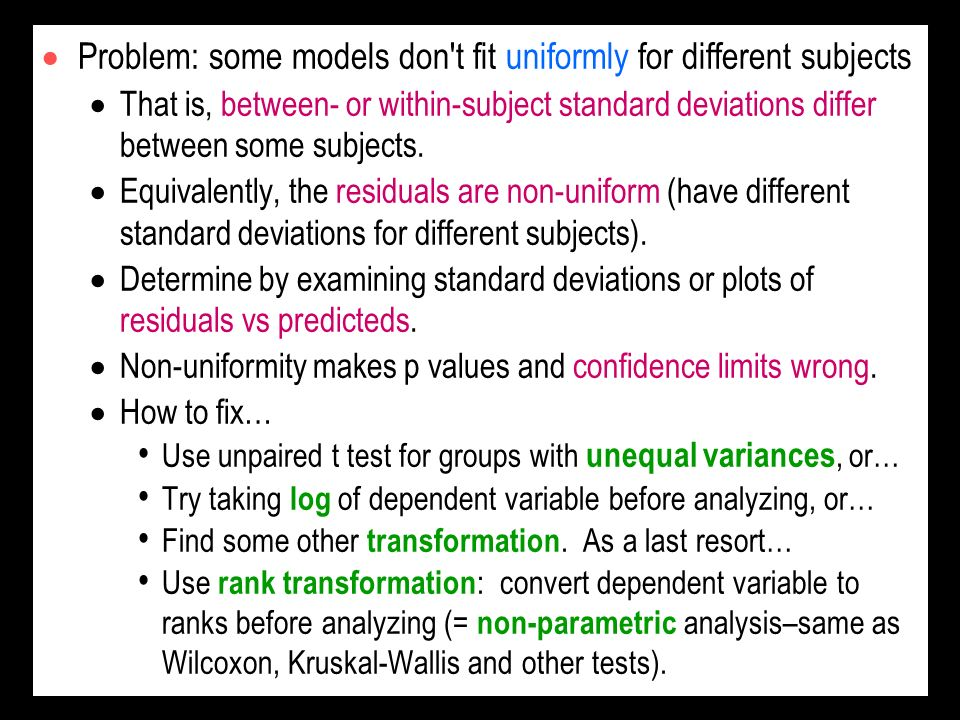 Problem: some models don t fit uniformly for different subjects