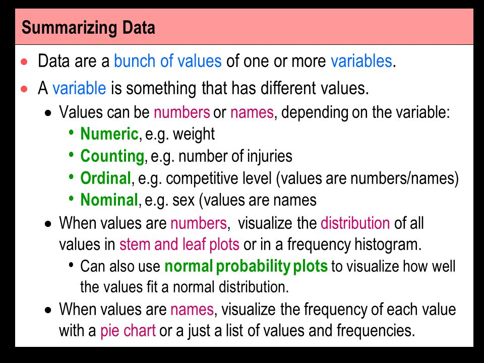 Data are a bunch of values of one or more variables.