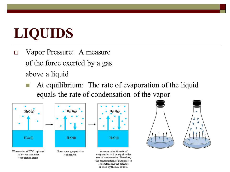 LIQUIDS Vapor Pressure: A measure of the force exerted by a gas