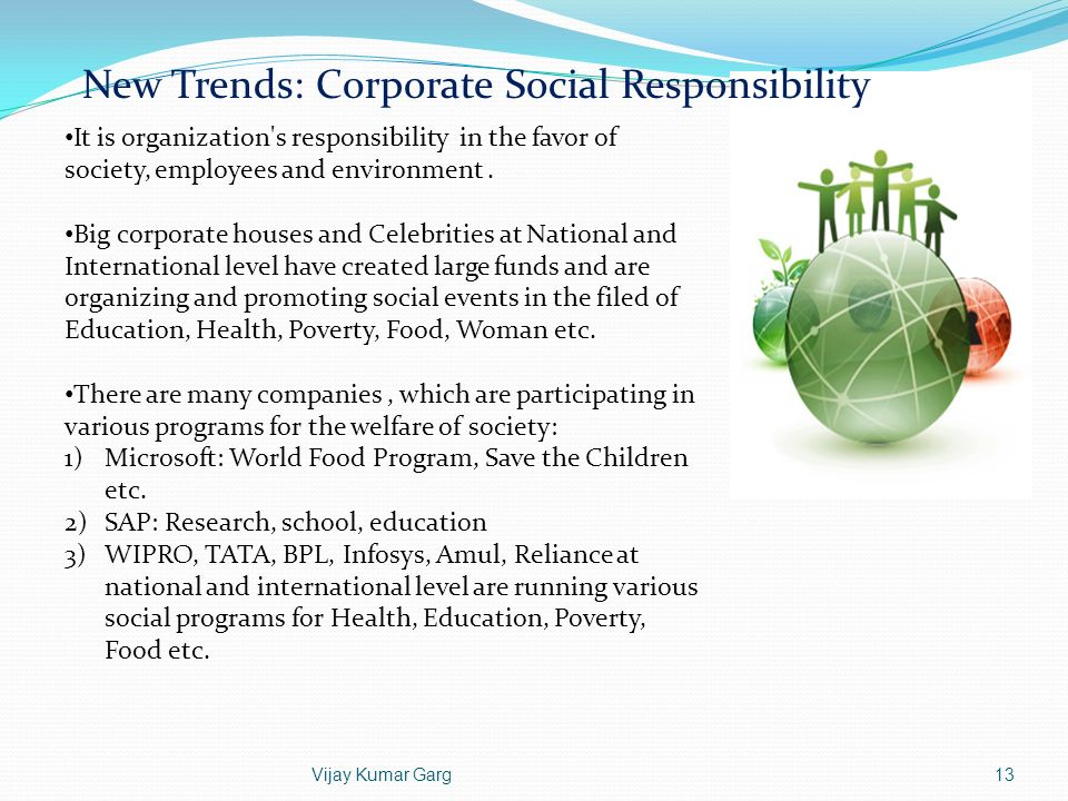 New Trends: Corporate Social Responsibility