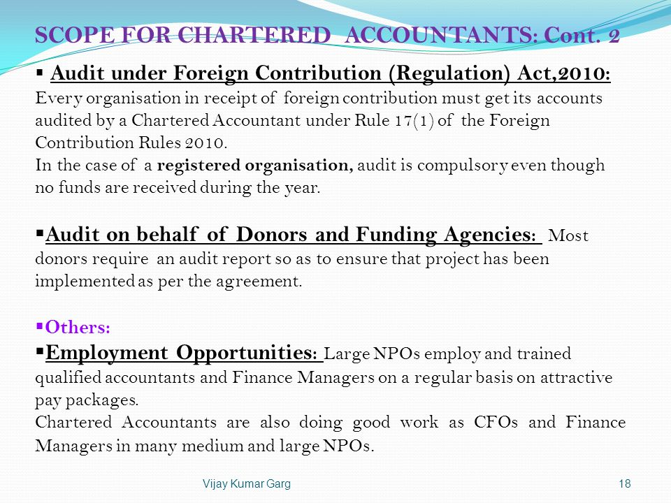 SCOPE FOR CHARTERED ACCOUNTANTS: Cont. 2