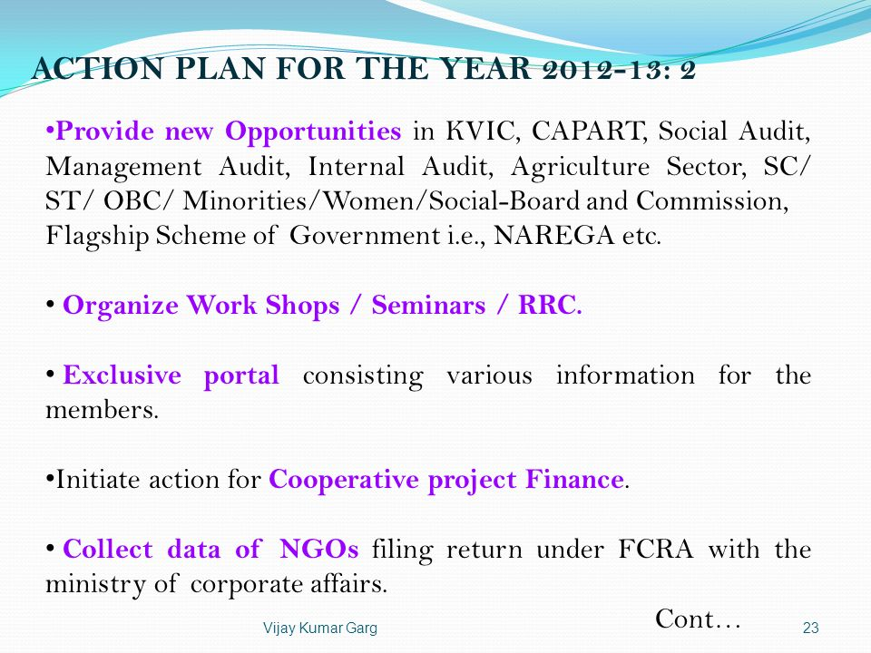 ACTION PLAN FOR THE YEAR 2012-13: 2