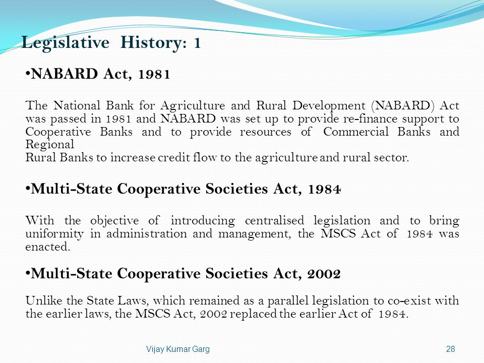 Legislative History: 1 NABARD Act, 1981