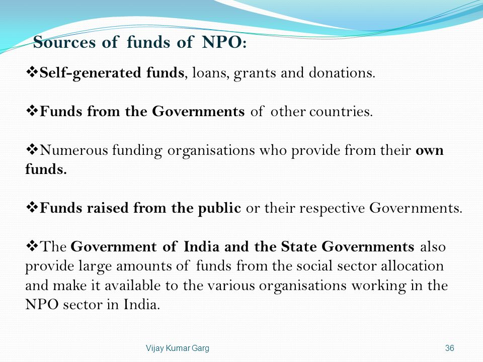 Sources of funds of NPO: