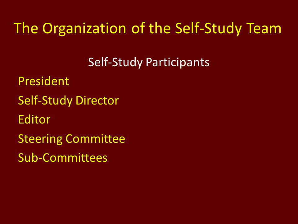 The Organization of the Self-Study Team