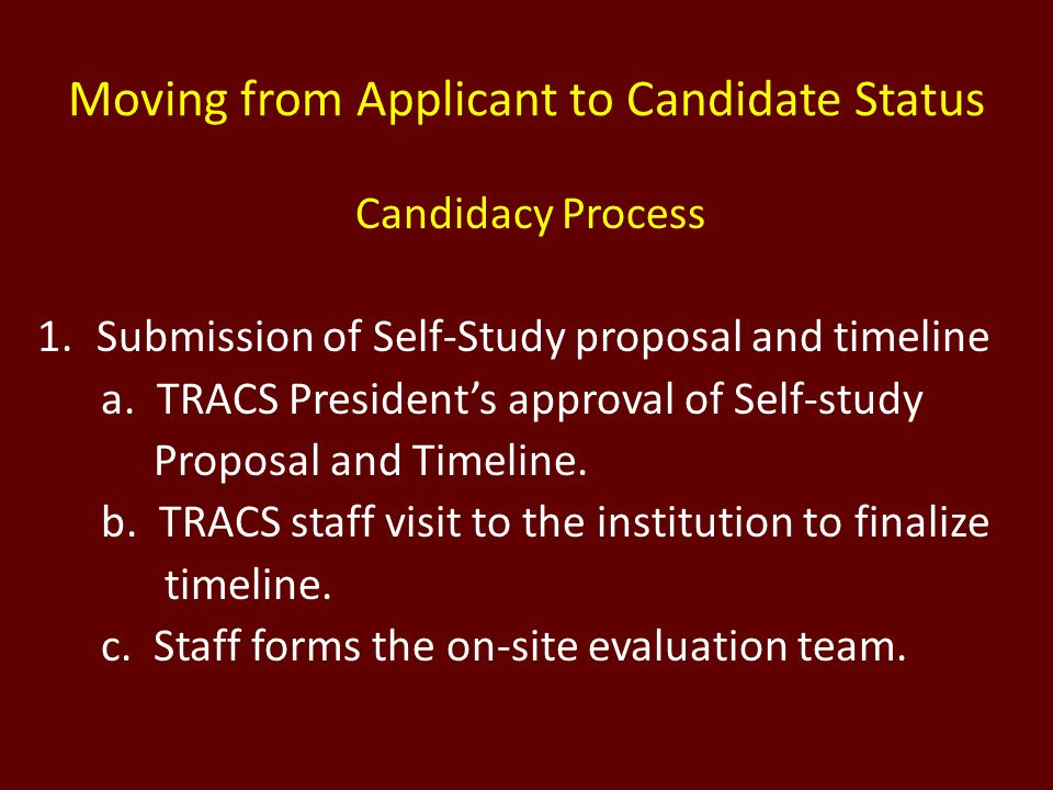 Moving from Applicant to Candidate Status