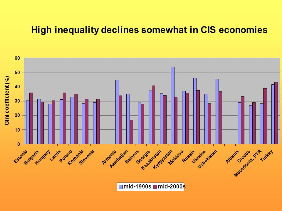 High inequality declines somewhat in CIS economies