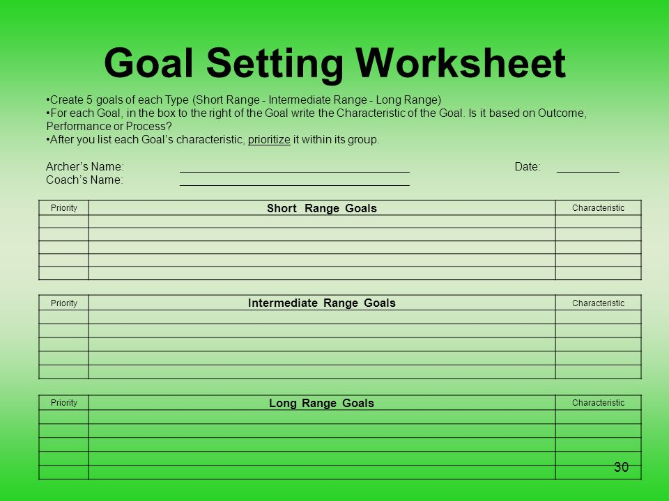 Smart goals for archery ppt video online download goal setting worksheet ibookread Read Online