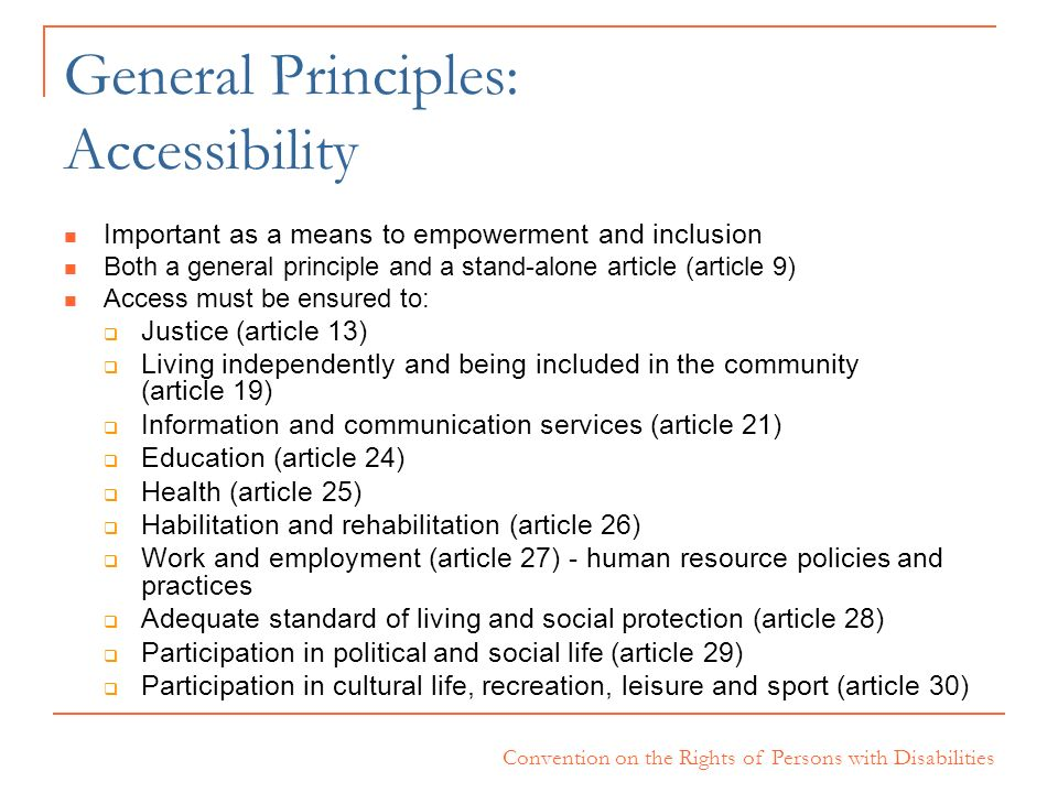 General Principles: Accessibility