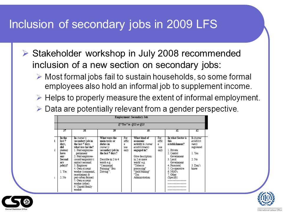 Inclusion of secondary jobs in 2009 LFS