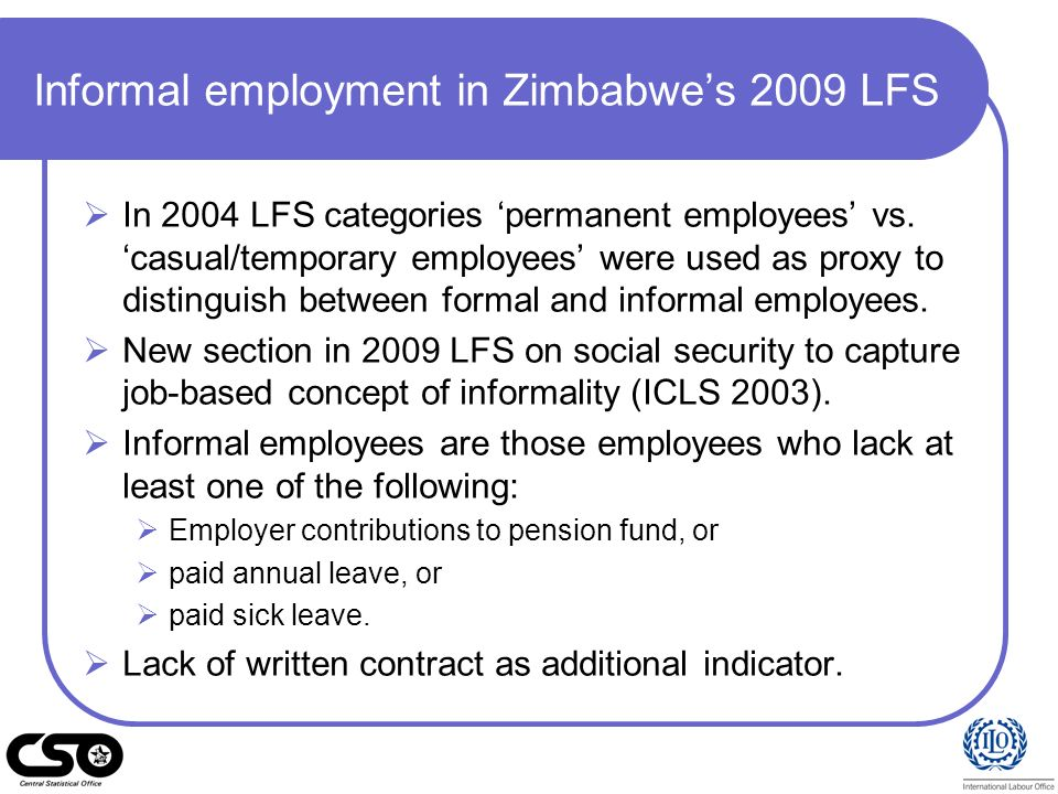 Informal employment in Zimbabwe's 2009 LFS