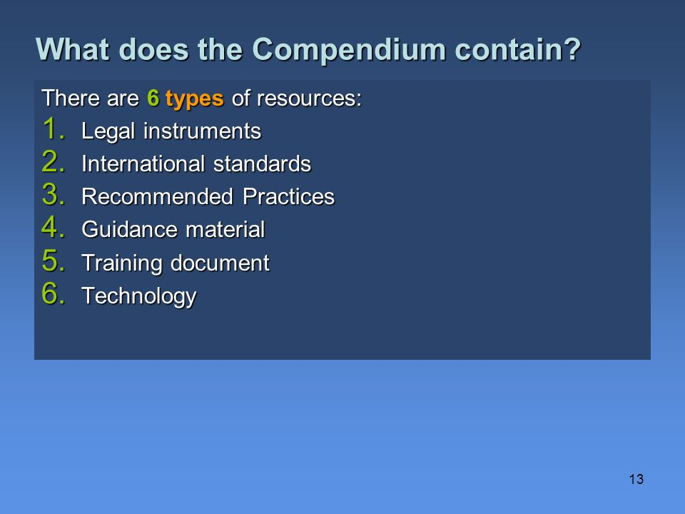 What does the Compendium contain
