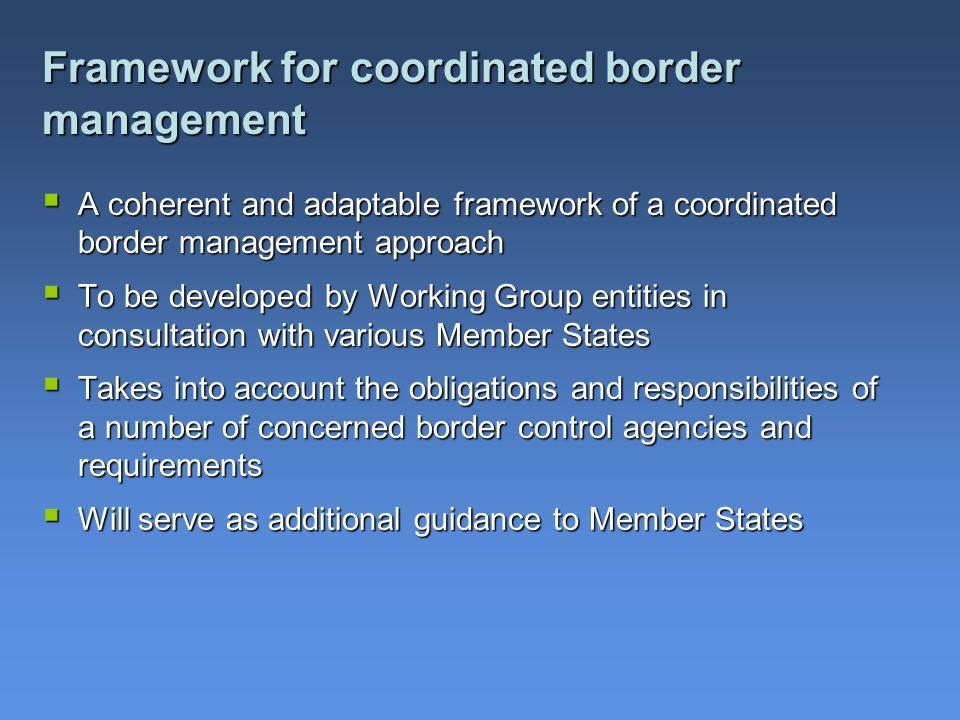 Framework for coordinated border management