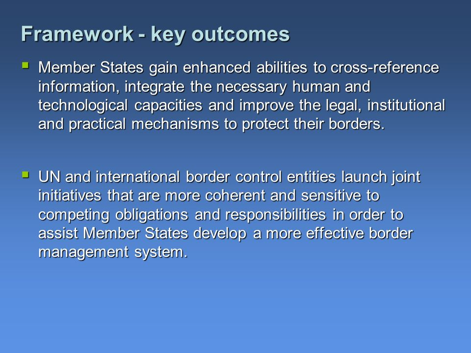 Framework - key outcomes