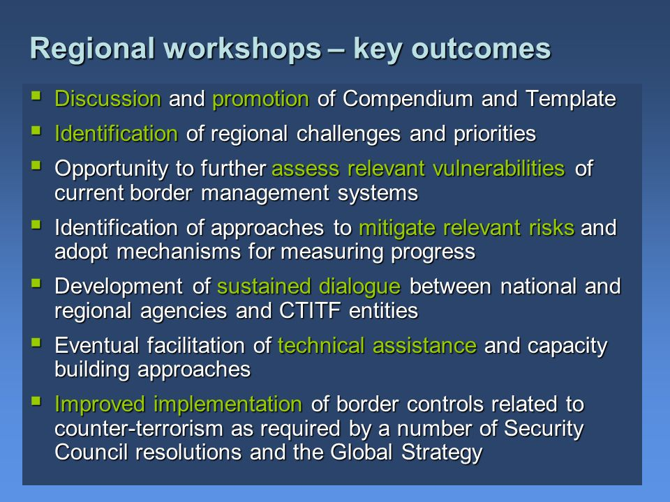 Regional workshops – key outcomes
