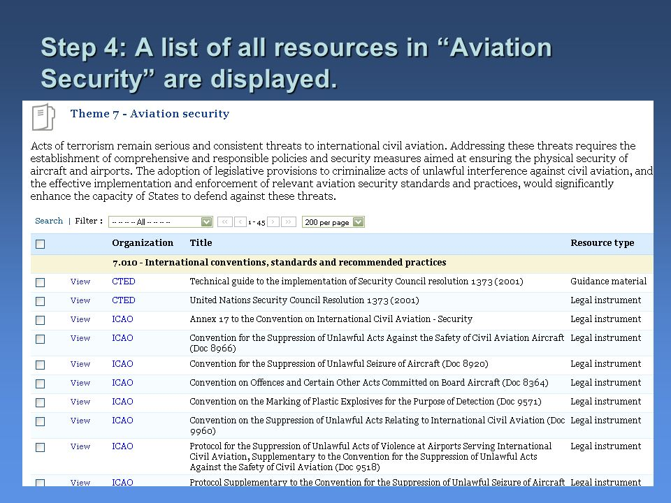Step 4: A list of all resources in Aviation Security are displayed.