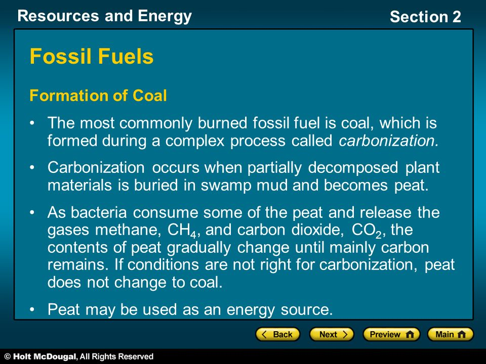 Fossil Fuels Formation of Coal