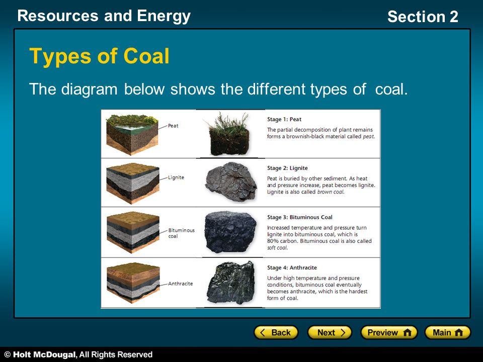 Types of Coal The diagram below shows the different types of coal.