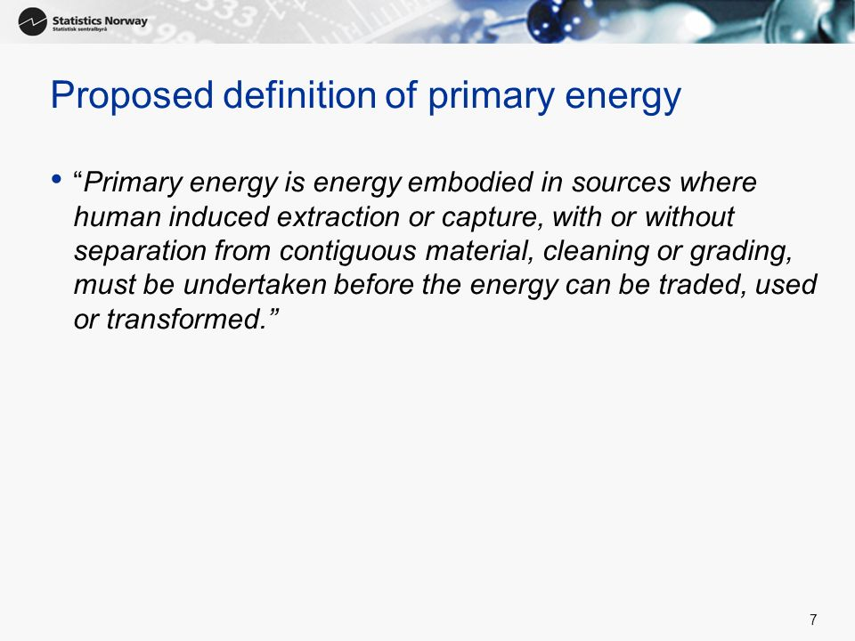Proposed definition of primary energy
