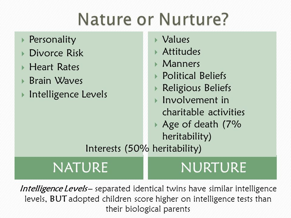 nature nurture intelligence essay Nature v nurture essay by jew1, junior high, 7th grade, september 2005 intelligence can be employed to indicate the amount of knowledge available and the rapidity with which new knowledge is acquired the ability to adapt to new situations and to handle concepts, relationships, and abstract.