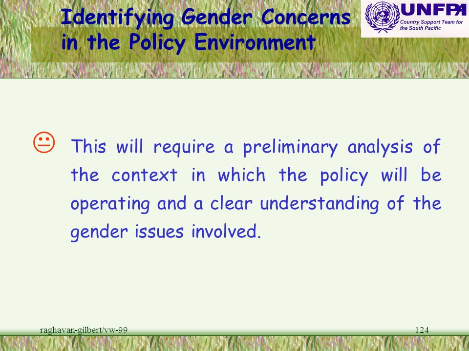 Identifying Gender Concerns in the Policy Environment