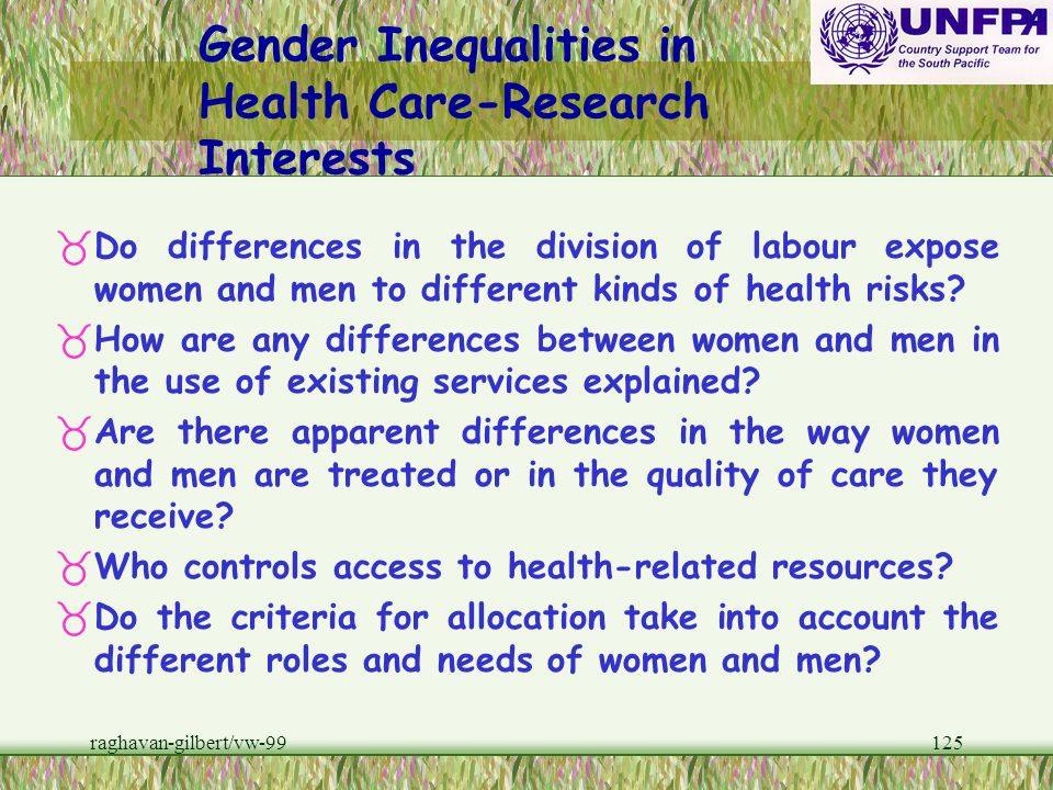 Gender Inequalities in Health Care-Research Interests