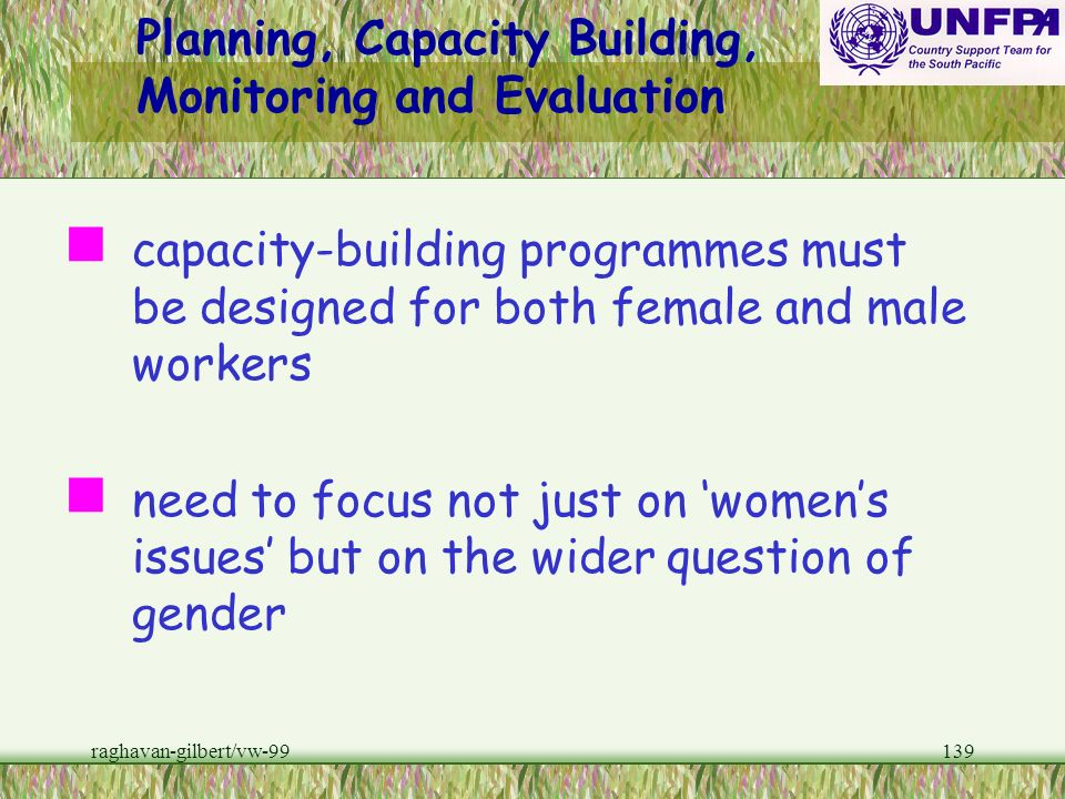 Planning, Capacity Building, Monitoring and Evaluation