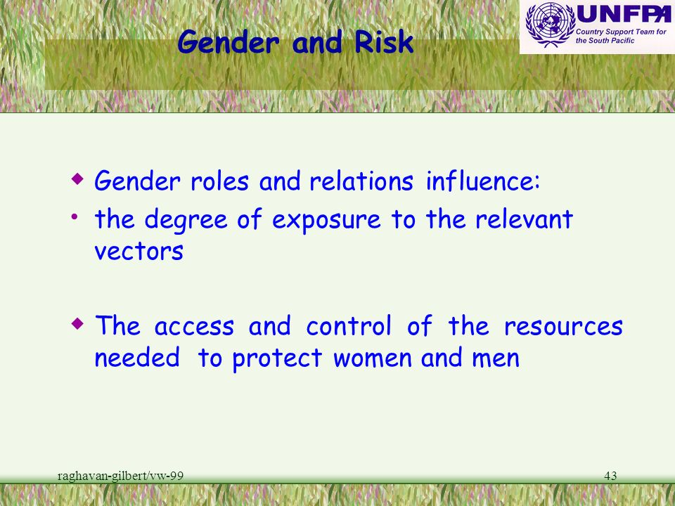 Gender and Risk Gender roles and relations influence: