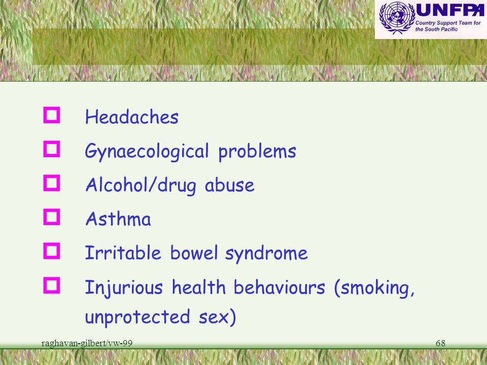 Gynaecological problems Alcohol/drug abuse Asthma