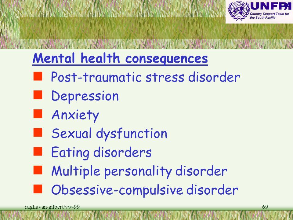 Mental health consequences Post-traumatic stress disorder Depression