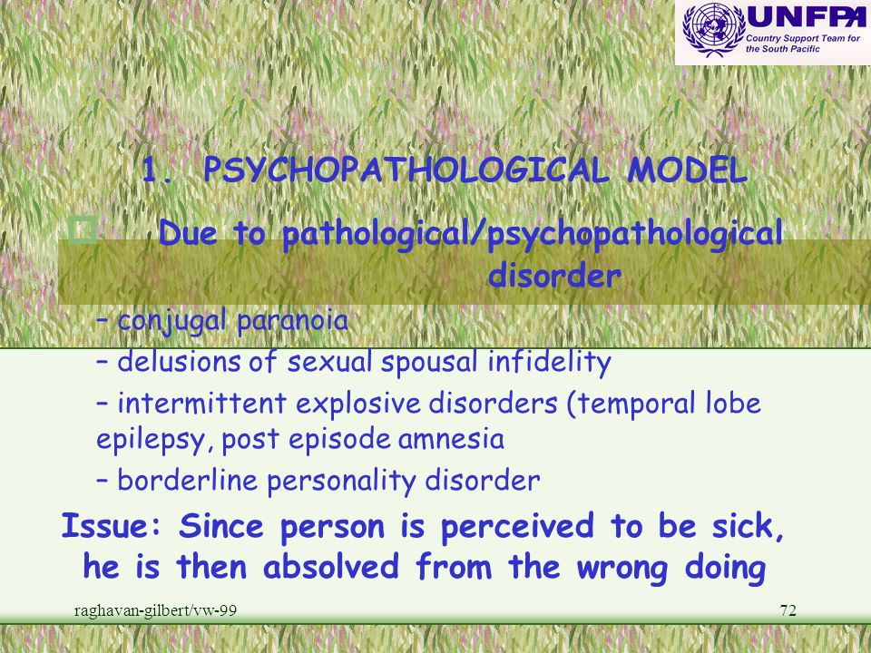 Due to pathological/psychopathological disorder