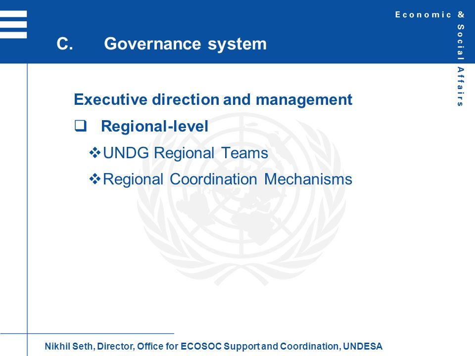 C. Governance system Executive direction and management Regional-level