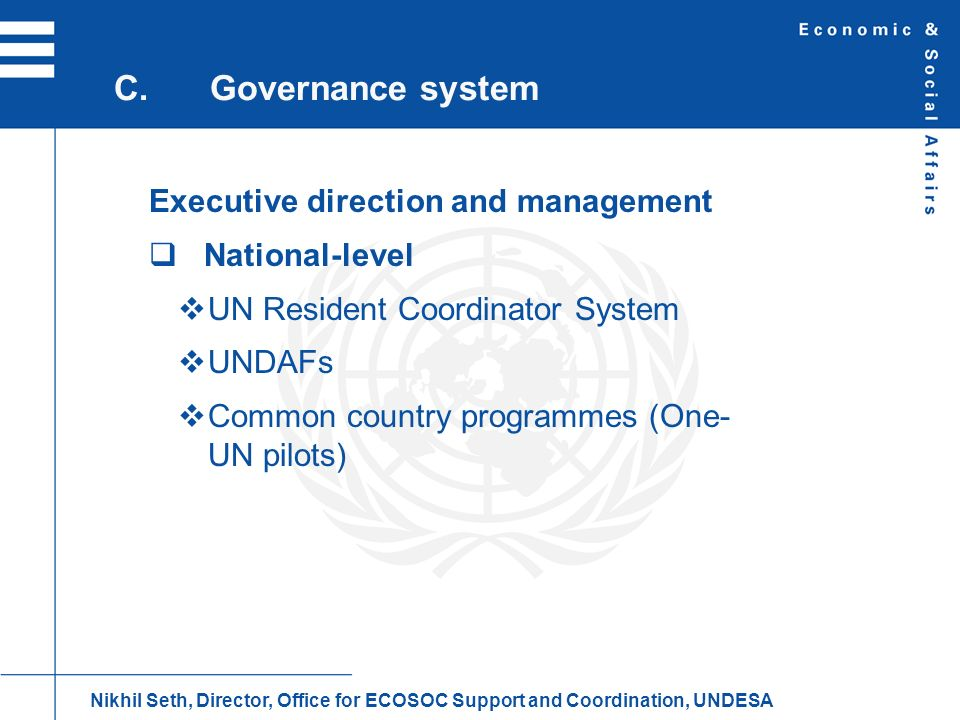C. Governance system Executive direction and management National-level