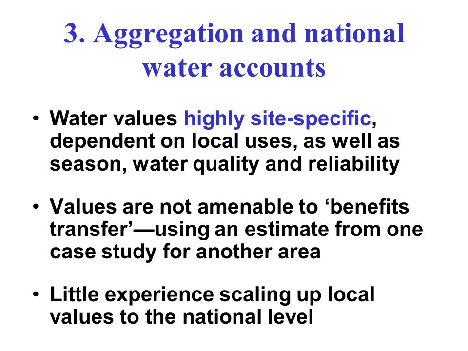3. Aggregation and national water accounts
