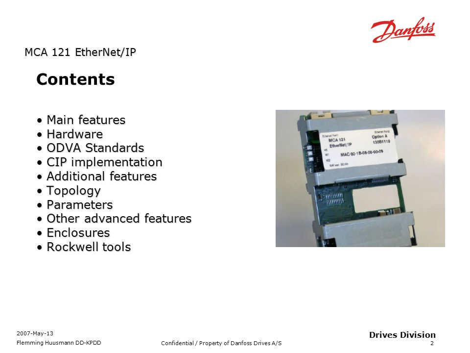 MCA121 EtherNet/IP option Product Presentation - ppt video online