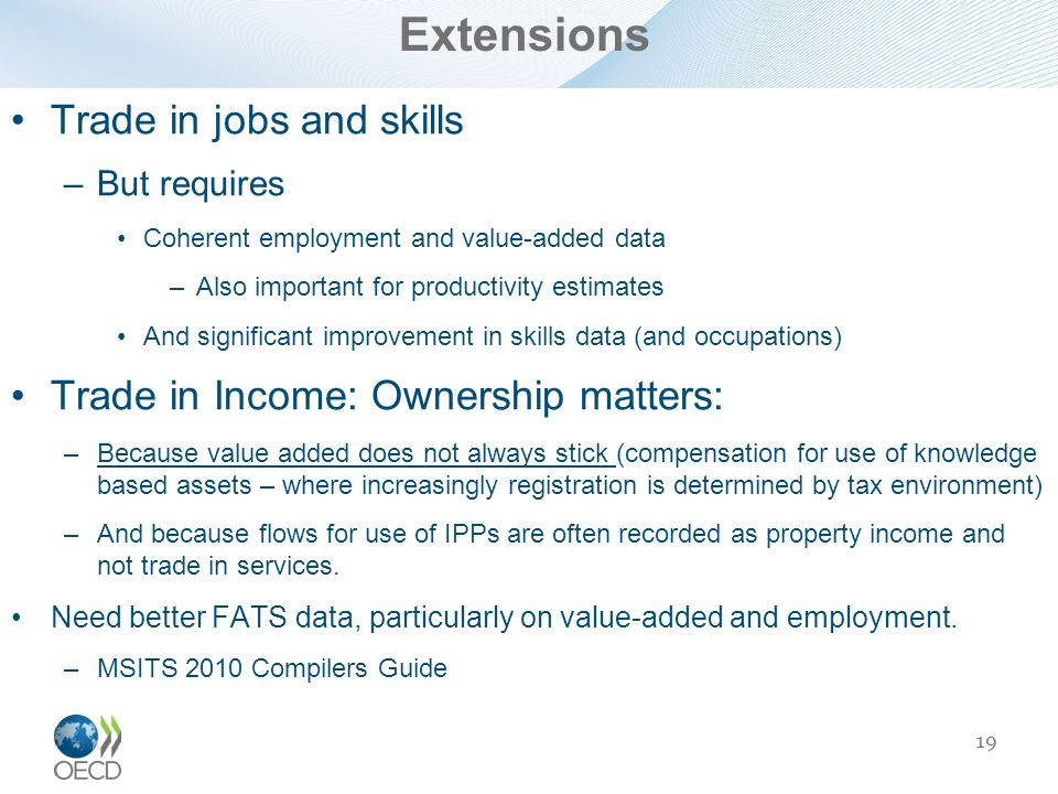 Extensions Trade in jobs and skills
