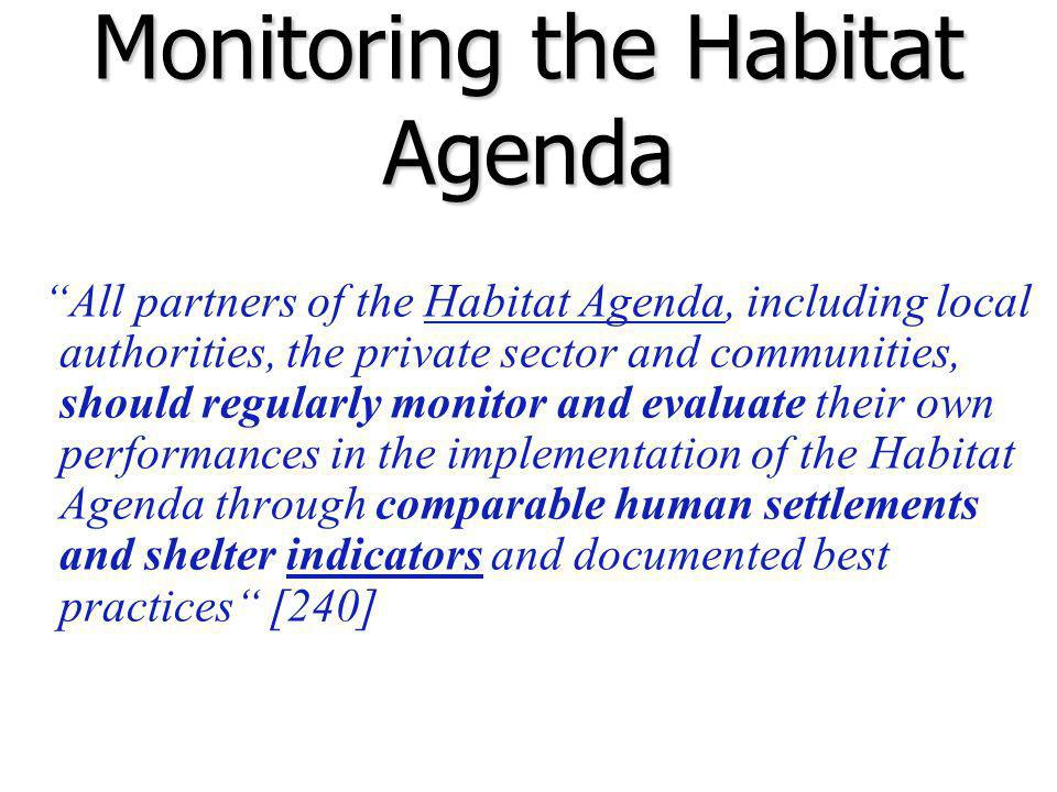 Monitoring the Habitat Agenda