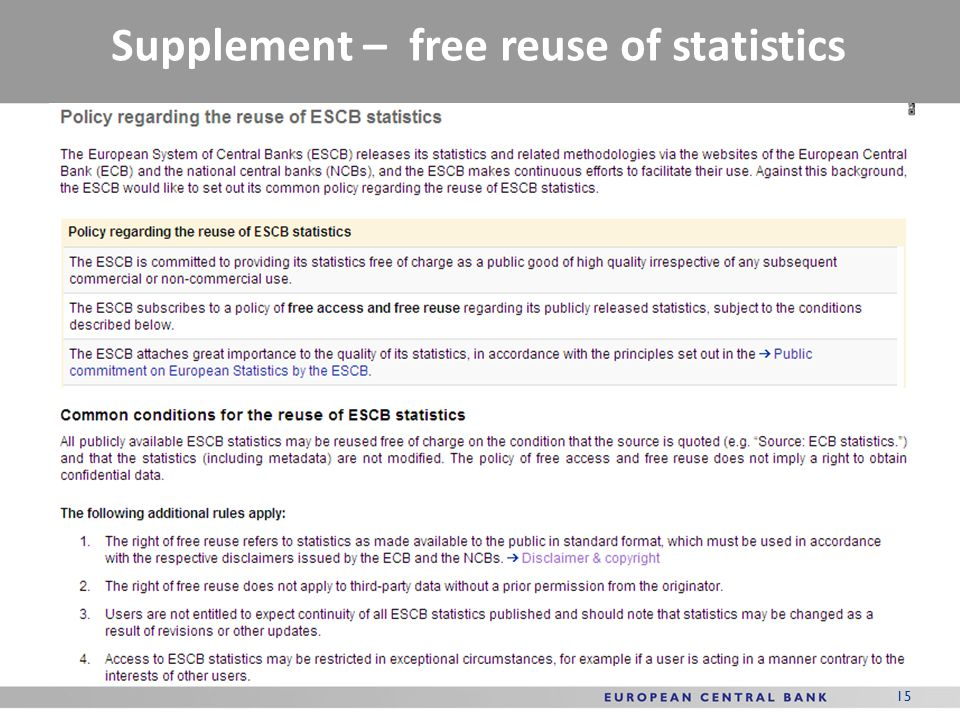 Supplement – free reuse of statistics