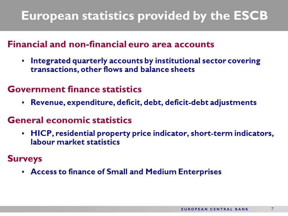 European statistics provided by the ESCB