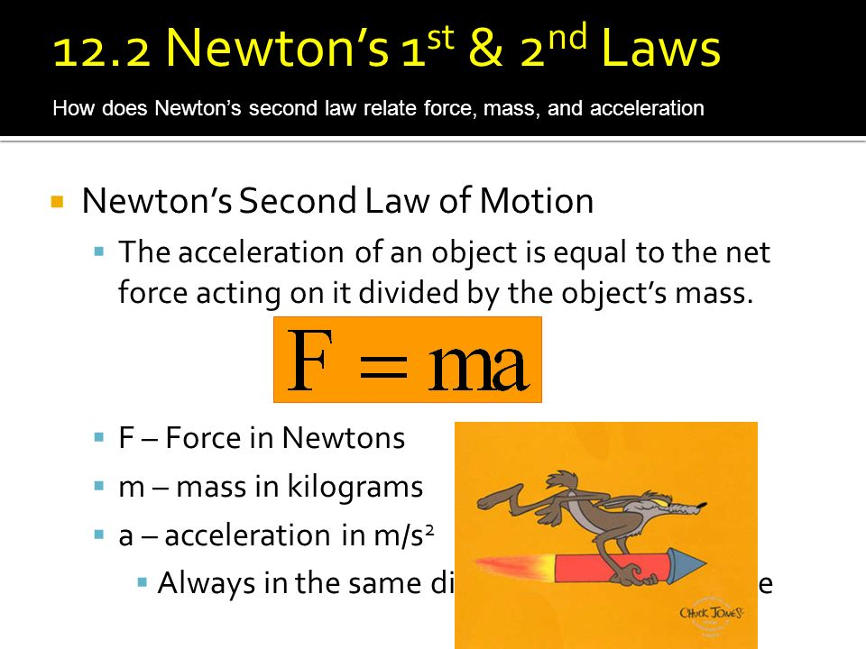 12.2 Newton's 1st & 2nd Laws Newton's Second Law of Motion