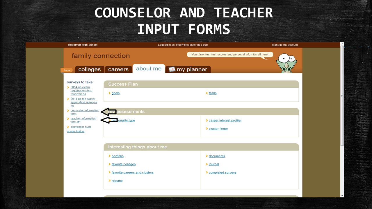 COUNSELOR AND TEACHER INPUT FORMS