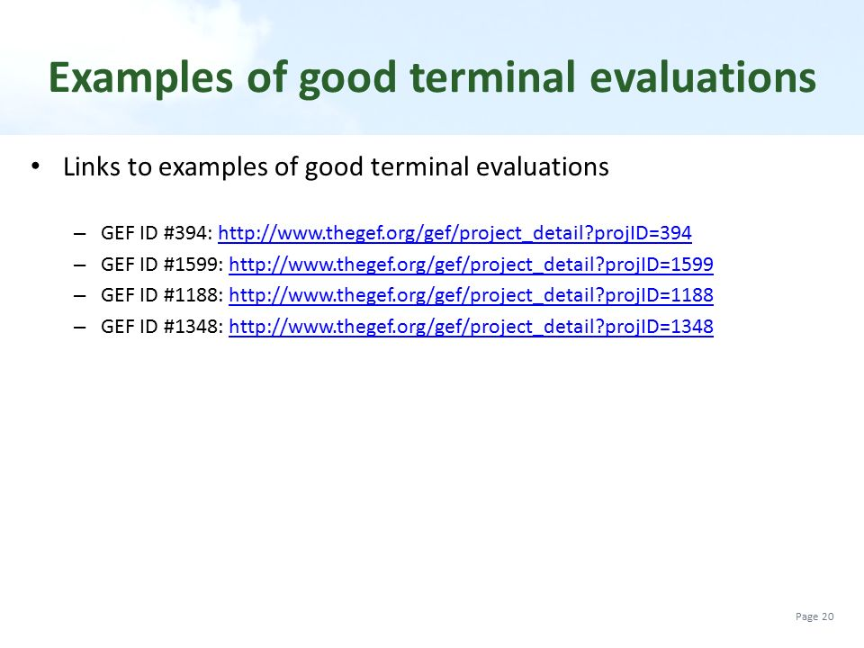 Examples of good terminal evaluations