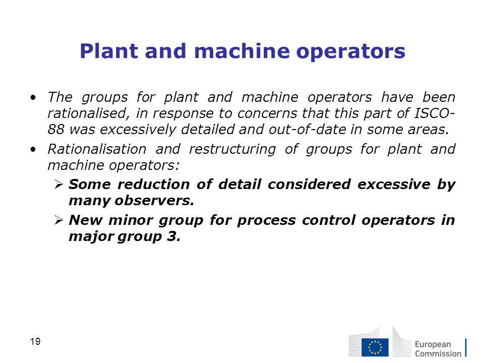 Plant and machine operators