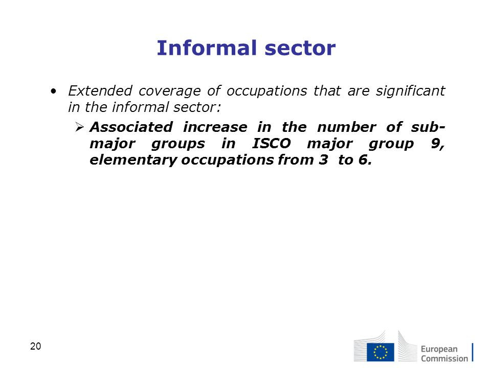 Informal sector Extended coverage of occupations that are significant in the informal sector: