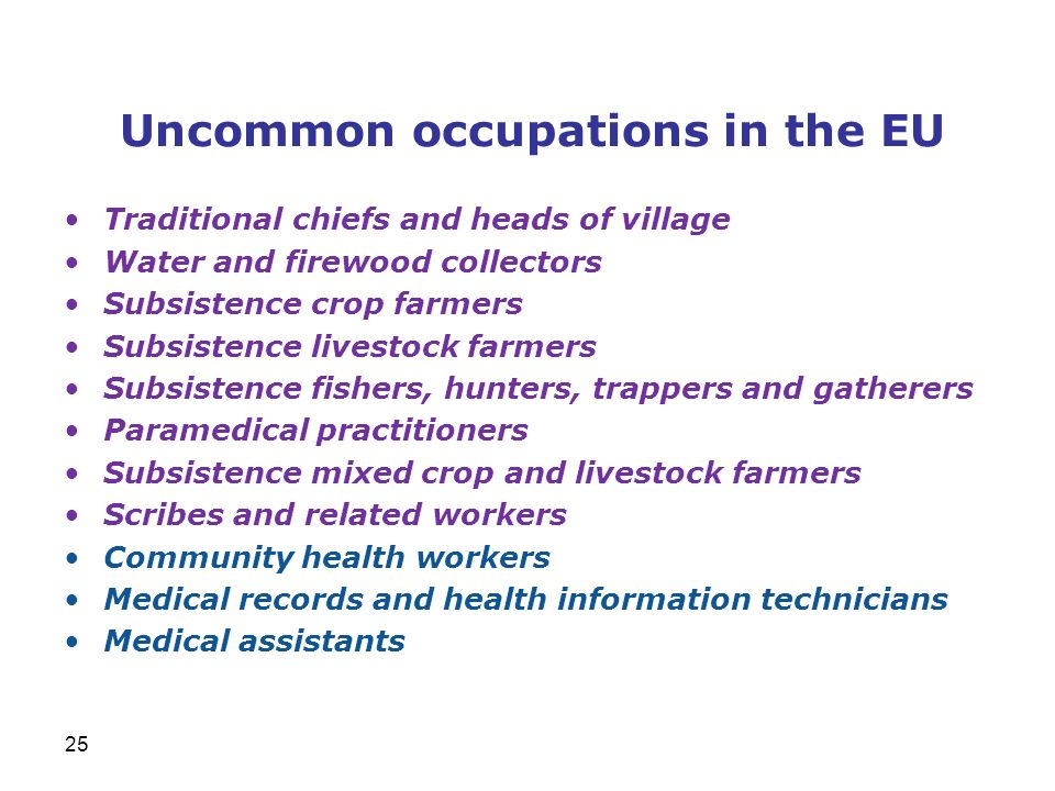 Uncommon occupations in the EU