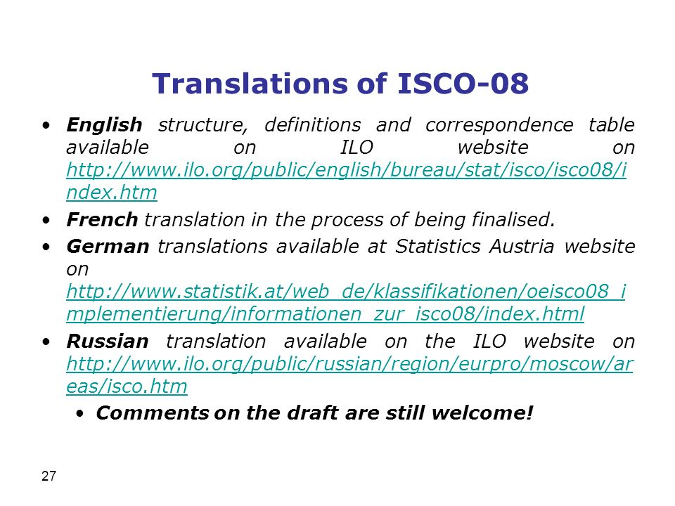 Translations of ISCO-08