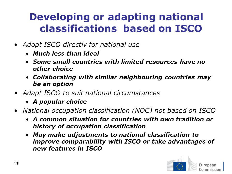 Developing or adapting national classifications based on ISCO