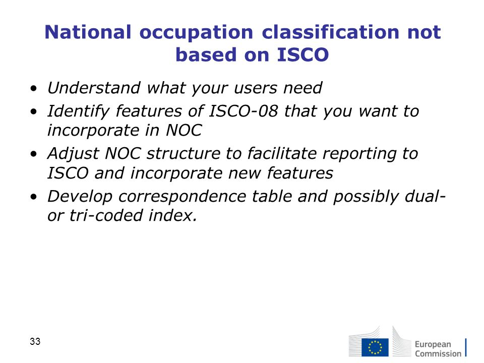 National occupation classification not based on ISCO